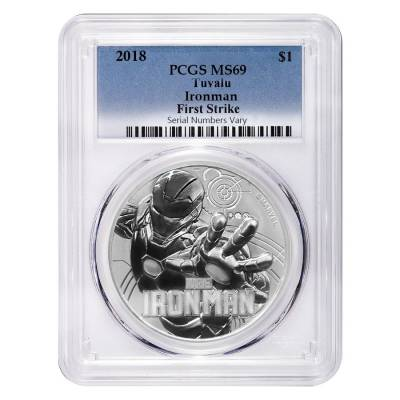 2018 1 oz Tuvalu Iron Man Marvel Series Silver PCGS MS 69 FS