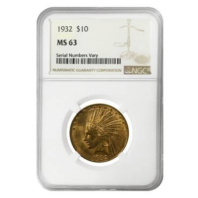 1932 $10 Indian Head Eagle Gold Coin NGC MS 63