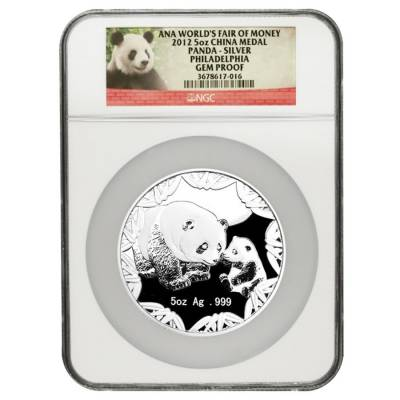 2012 5 oz Proof Silver Chinese Panda ANA World's Fair of Money Medal NGC Gem Proof