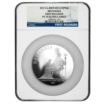 2013 Great Britain 5 oz Silver Britannia Proof Coin NGC PF 70 UCAM First Releases (w/COA)