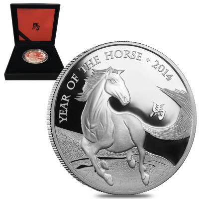 2014 Great Britain 1 oz Proof Silver Year of the Horse Coin .999 Fine (w/Box & COA)