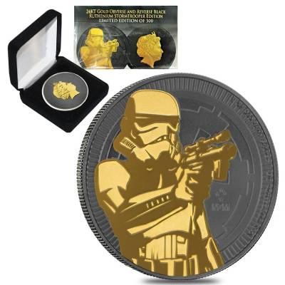 2018 1 oz Niue Silver $2 Star Wars Stormtrooper Black Ruthenium 24K Gold Edition (w/Box & COA)