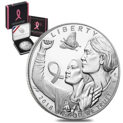 2018 P Breast Cancer Awareness Proof Silver Dollar Commemorative (w/Box & COA)