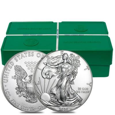 Monster Box of 500 - 2020 1 oz Silver American Eagle $1 Coin BU (25 Rolls,Tubes of 20)