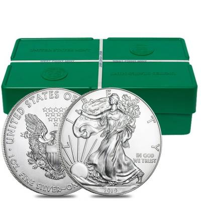 Monster Box of 500 - 2019 1 oz Silver American Eagle $1 Coin BU (25 Roll, Tube of 20)