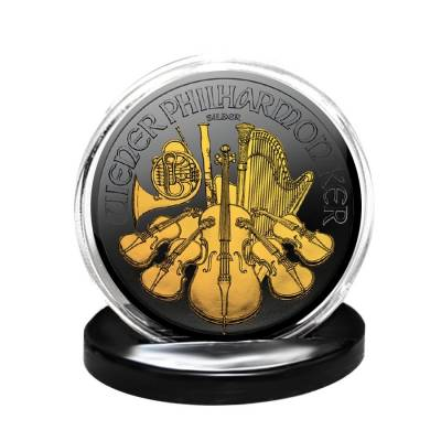 2018 1 oz Austrian Silver Philharmonic Coin Black Ruthenium 24K Gold Edition (w/Box & COA)