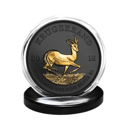 2018 South Africa 1 oz Silver Krugerrand Black Ruthenium 24K Gold Edition (w/Box & COA)