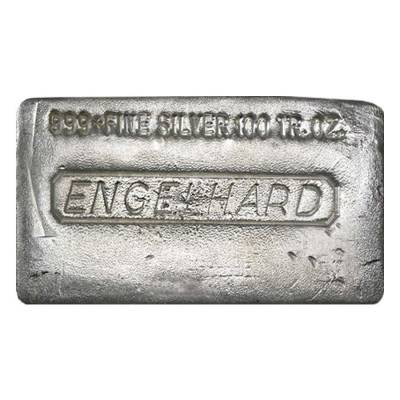 100 oz Engelhard Old Hand Poured Silver Bar .999 Fine