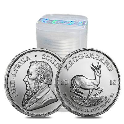 Monster Box of 500 - 2018 South Africa 1 oz Silver Krugerrand BU (20 Roll, Tube, Lot of 25)