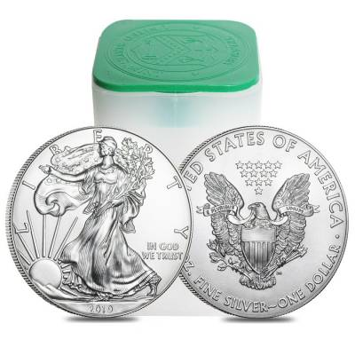 Monster Box of 500 - 2019 1 oz Silver American Eagle $1 Coin BU (25 Roll,Tube of 20)