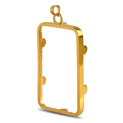 Sterling Silver Prong Frame Bezel Pendant for 1 oz PAMP Gold Bar (Gold Plated)