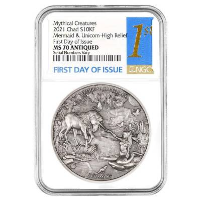 2021 Chad 2 oz Silver Mermaid & Unicorn Coin NGC MS 70 FDOI Antiqued High Relief - Mythical Creatures