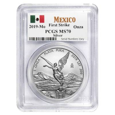 2019 1 oz Mexican Silver Libertad Coin PCGS MS 70 First Strike