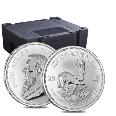 Monster Box of 500 - 2019 South Africa 1 oz Silver Krugerrand BU (20 Roll, Tube, Lot of 25)