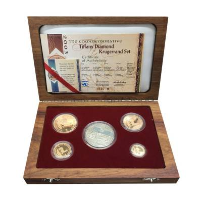 2003 South African Krugerrand Tiffany Diamond Commem 5-Coin Proof Set (w/Box & COA)