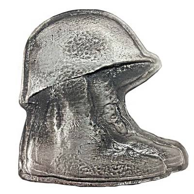 10 oz Army Boots and Helmet Silver Hand Poured Bullion Exchanges Bar .999 Fine (Antiqued)