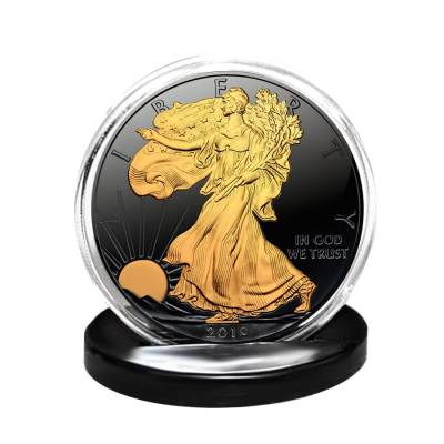 2019 1 oz Silver American Eagle $1 Coin Black Ruthenium 24K Gold Edition (w/Box & COA)