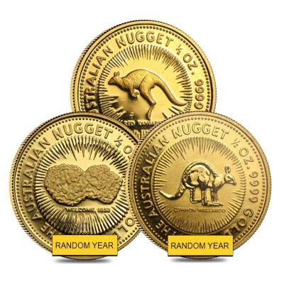 1/2 oz Australian Kangaroo/Nugget Gold Coin .9999 Fine Proof/BU (Random Year)