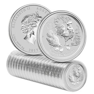 2017 1/2 oz Silver Lunar Year of The Rooster BU Australian Perth Mint In Capsule