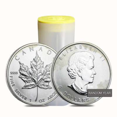 Roll of 25 - 1 oz Silver Canadian Maple Leaf (Milky, Cull, Damaged, Circulated, Cleaned)