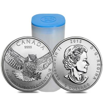 Roll of 25 - 2015 1 oz Silver Canadian Great Horned Owl - Birds of Prey Series