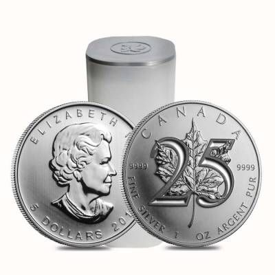 Roll of 25 - 2013 1 oz Silver Canadian Maple Leaf 25th Anniversary .9999 Fine $5 Coin BU (Lot, Tube of 25)