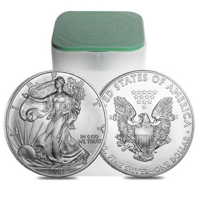Roll of 20 - 2003 1 oz Silver Eagle Brilliant Uncirculated