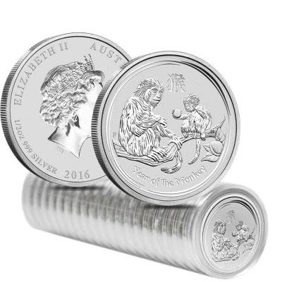 2016 1/2 oz Silver Lunar Year of The Monkey BU Australian Perth Mint In Capsule