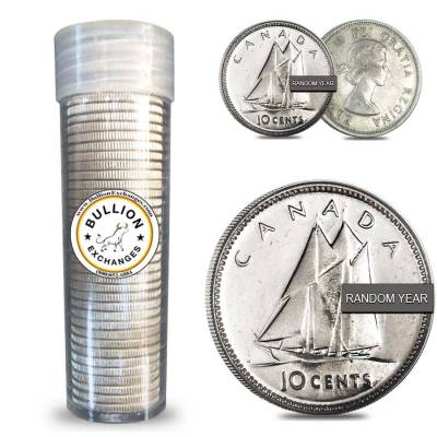 $5 Face Value Canada 80% Dimes Silver 50-Coin Roll Random Year (Circulated)