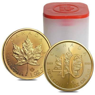 2019 1 oz Gold Canadian Maple Leaf 40th Anniversary .9999 Fine $50 Coin BU