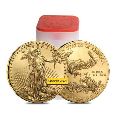 Roll of 20 - 1 oz Gold American Eagle $50 Coin BU (Random Year)