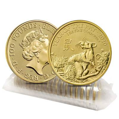 2020 Great Britain 1 oz Gold Year of the Mouse / Rat Coin .9999 Fine BU