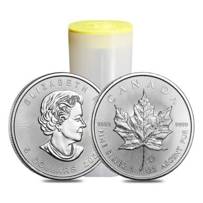 Monster Box of 500 - 2021 1 oz Canadian Silver Maple Leaf .9999 Fine $5 Coin BU (20 Rolls, Tube of 25)