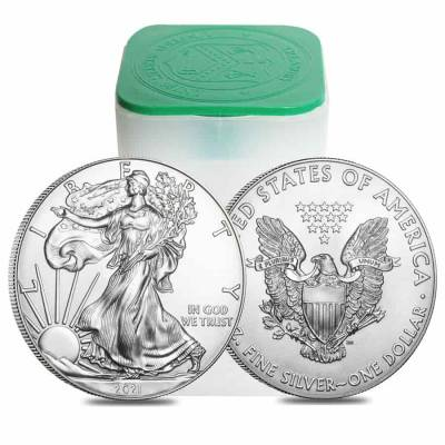 Monster Box of 500 - 2021 1 oz Silver American Eagle $1 Coin BU (25 Roll, Tube of 20)