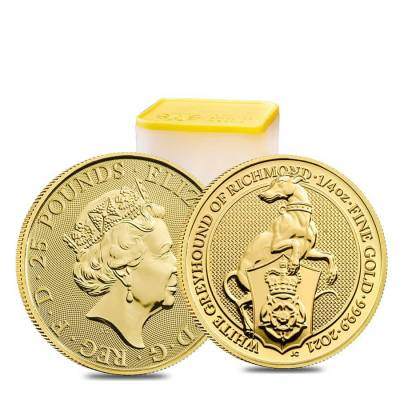2021 Great Britain 1/4 oz Gold Queen's Beasts White Greyhound of Richmond Coin .9999 Fine BU