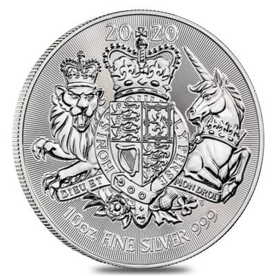 2020 Great Britain 10 oz Silver Royal Arms Coin .999 Fine BU