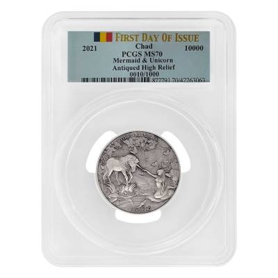 2021 Chad 2 oz Silver Mermaid & Unicorn Serial #10 PCGS MS 70 FDOI Antiqued High Relief - Mythical Creatures