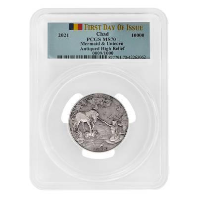 2021 Chad 2 oz Silver Mermaid & Unicorn Serial #9 PCGS MS 70 FDOI Antiqued High Relief - Mythical Creatures