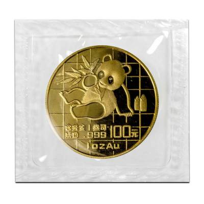 1989 1 oz Gold China Panda 100 Yuan Coin Large Date BU (Sealed)