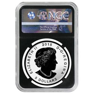 2015 1 oz Silver Canadian Maple Leaf E=mc2 Privy NGC PF 69 - Early Releases Blue Label Retro Holder