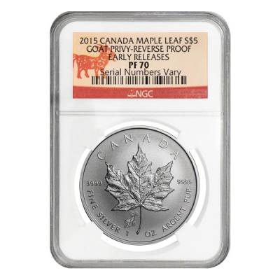2015 1 oz Canadian Silver Maple Leaf Lunar Goat Privy Reverse Proof NGC PF 70
