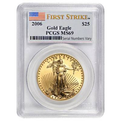 2006 1/2 oz $25 Gold American Eagle PCGS MS 69 First Strike