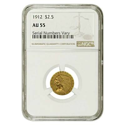 1912 $2.5 Gold Quarter Eagle Indian Head NGC AU 55
