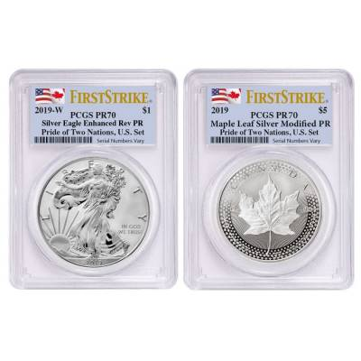 2019 Pride of Two Nations 2-Coin Set PCGS PF 70 FS (Two Flags Label)