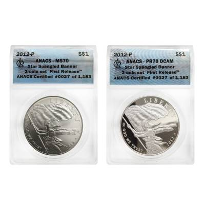 2012 P Silver $1 Commem Star Spangled Banner 2-Coin Set ANACS MS/PF 70 First Release