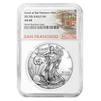 2017 (S) 1 oz Silver American Eagle $1 Coin NGC MS 69 (Trolley Label)