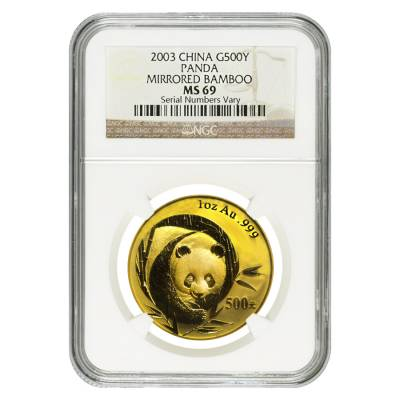 2003 1 oz China Gold Panda 500 Yuan NGC MS 69 - Mirrored Bamboo