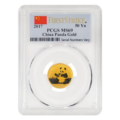 2017 3 Gram Chinese Gold Panda 50 Yuan PCGS MS 69 First Strike