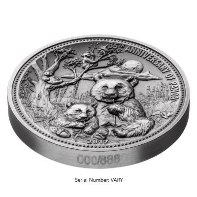 2017 8 oz Silver Panda Fiji $5 Coin .999 Fine Antiqued High Relief (In Cap,w/Box&COA)
