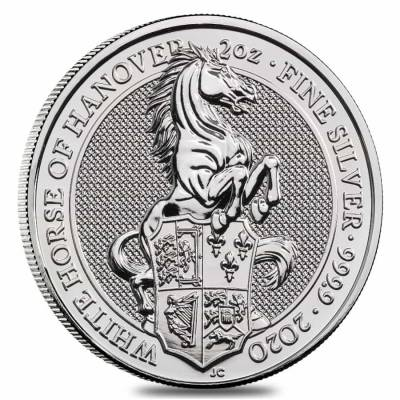 2020 Great Britain 2 oz Silver Queen's Beasts White Horse of Hanover Coin .9999 Fine BU